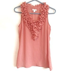 New York and Company Peach Floral V-neck Tank Top